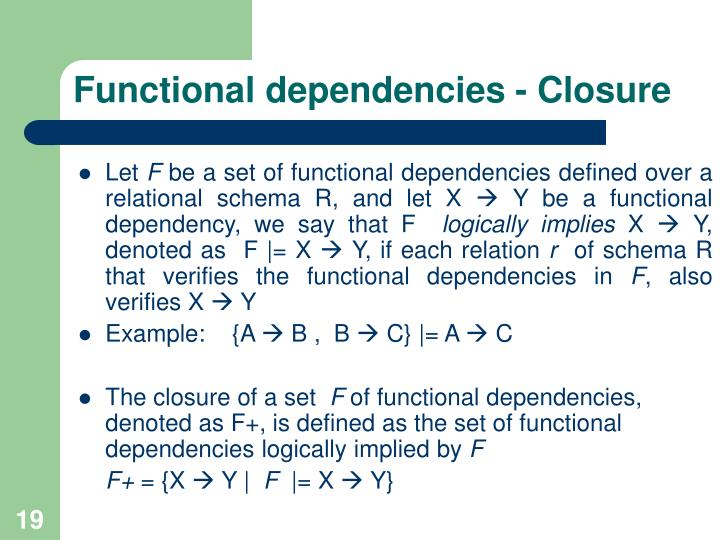 Functional dependencies - Closure