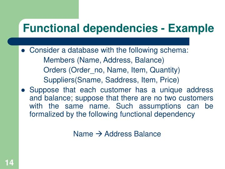 Functional dependencies - Example