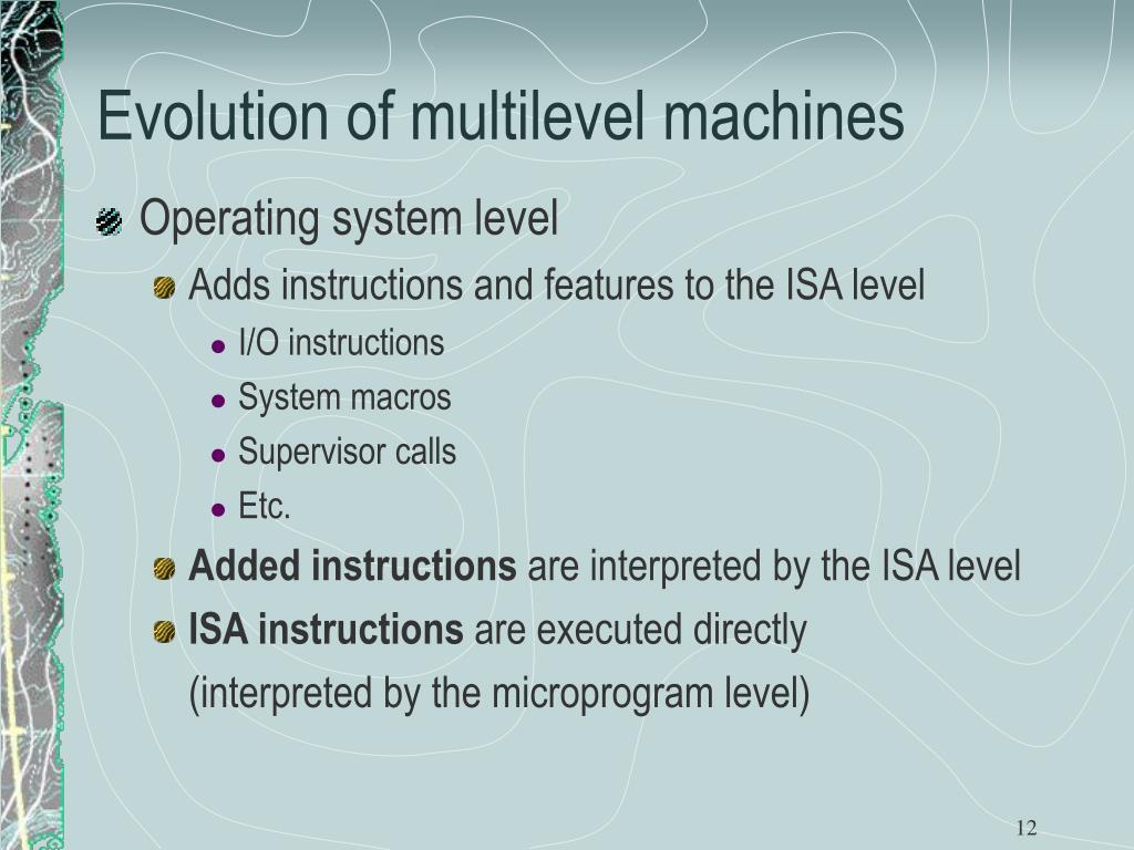 Evolution of multilevel machines