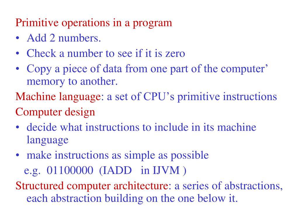 Primitive operations in a program