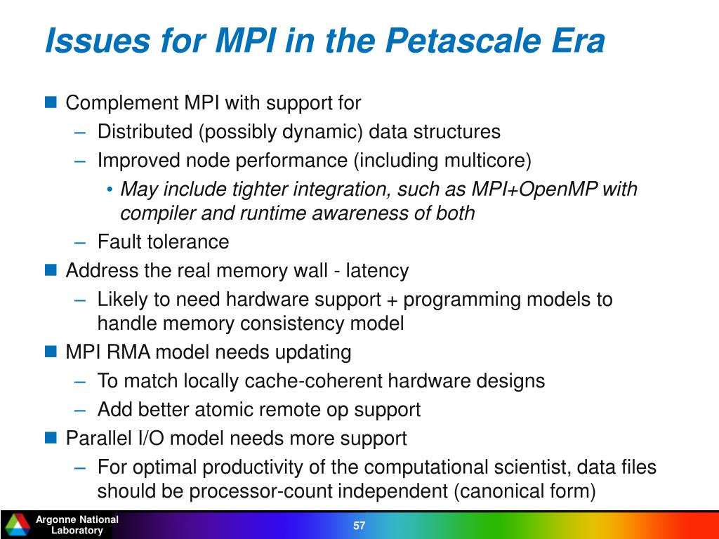 Issues for MPI in the Petascale Era