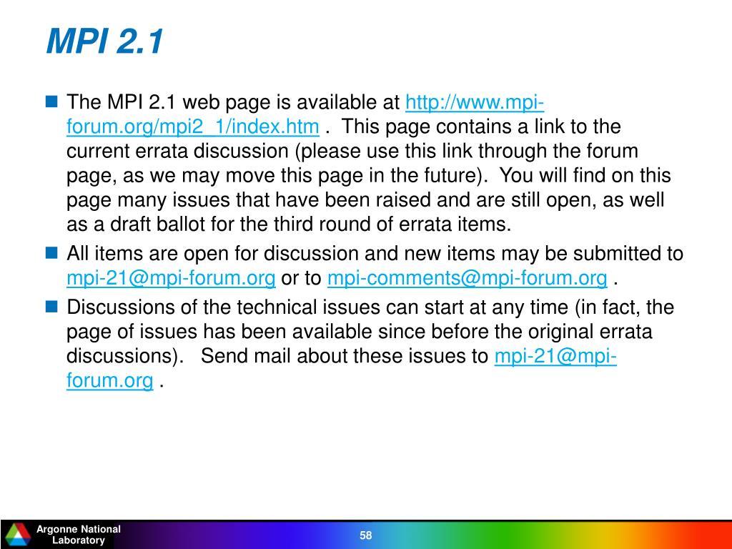 MPI 2.1