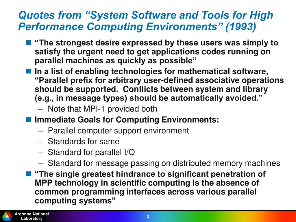 """Quotes from """"System Software and Tools for High Performance Computing Environments"""" (1993)"""