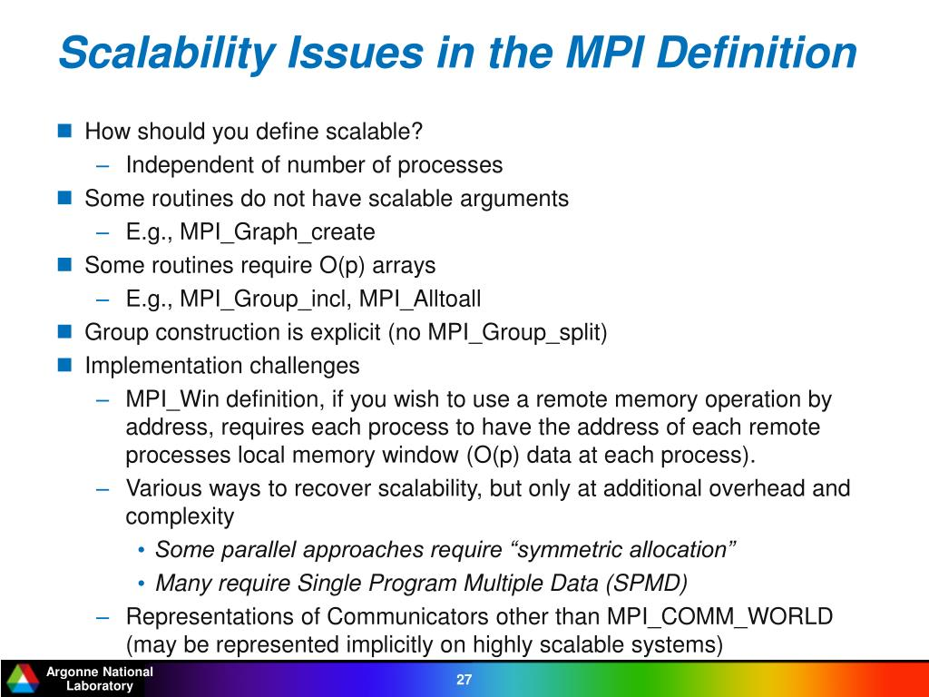 Scalability Issues in the MPI Definition