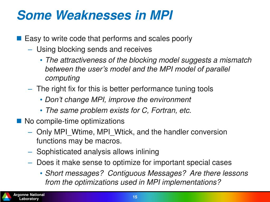 Some Weaknesses in MPI