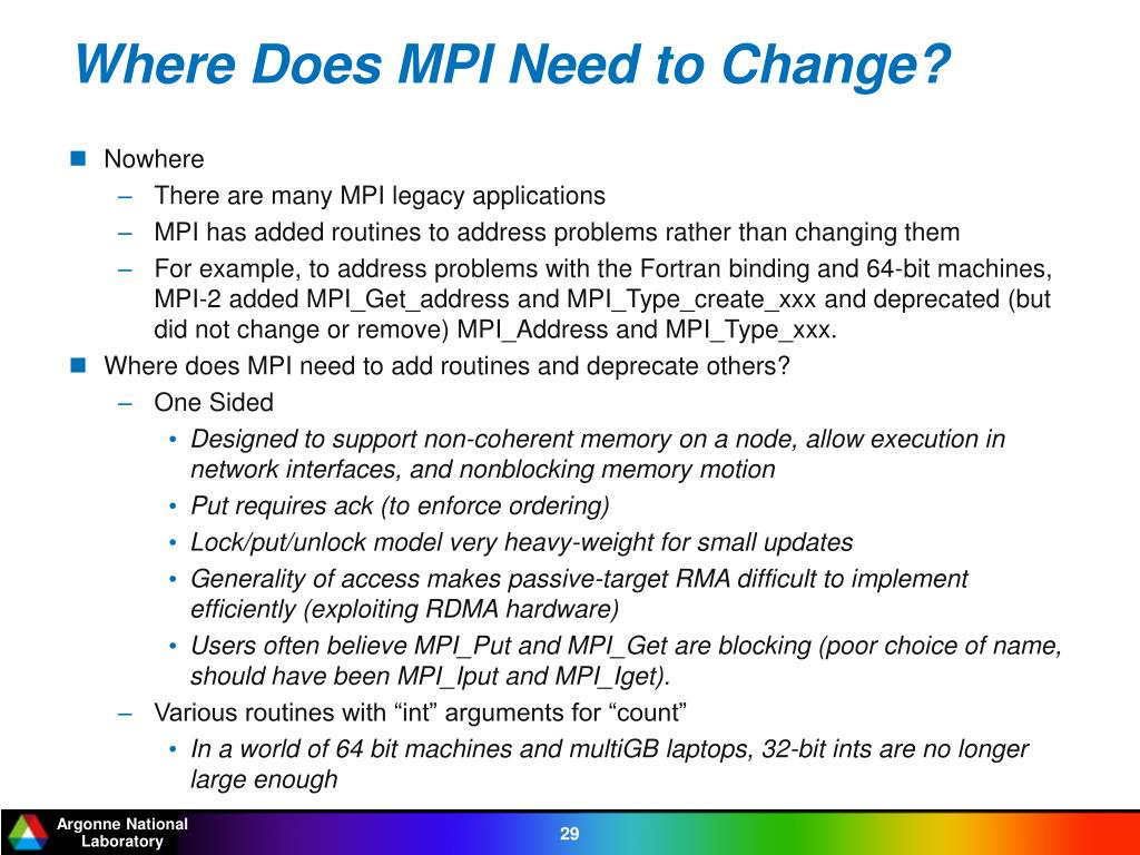 Where Does MPI Need to Change?