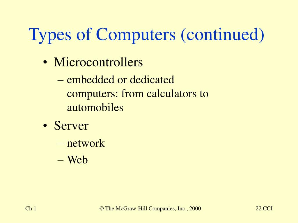 Types of Computers (continued)