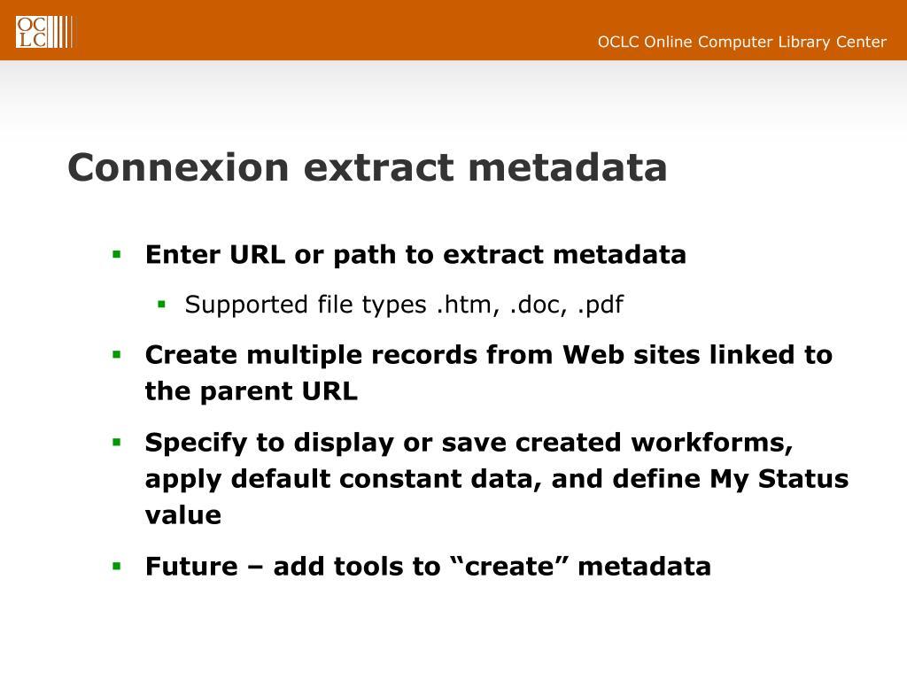Connexion extract metadata