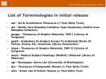 list of terminologies in initial release