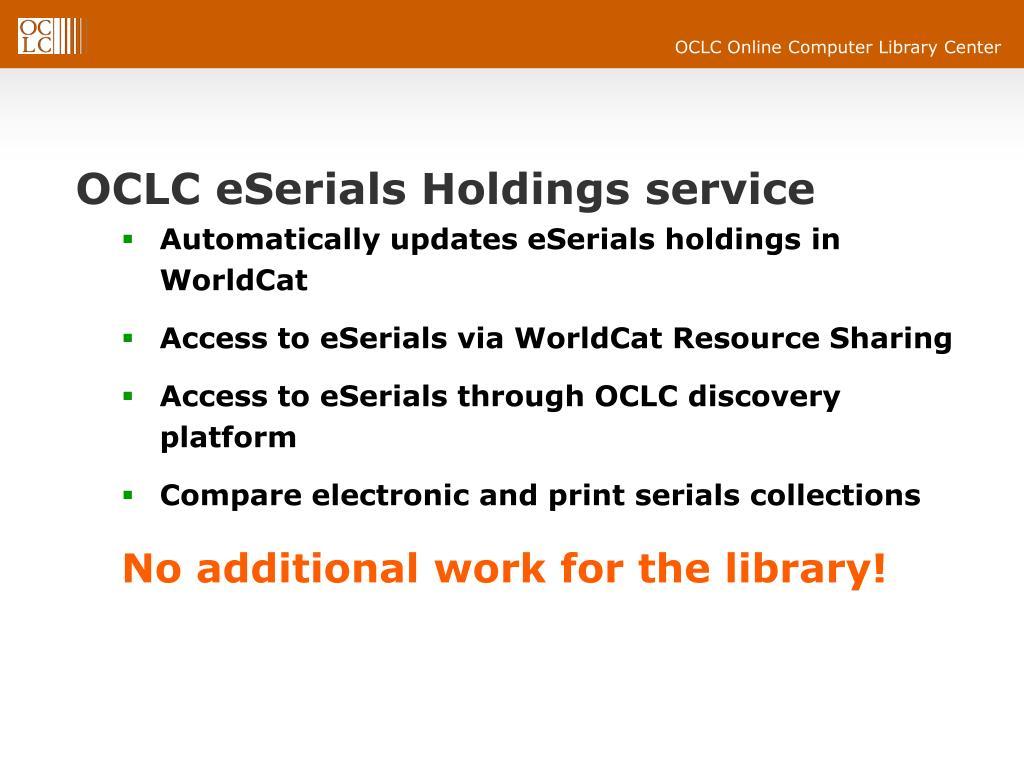 OCLC eSerials Holdings service