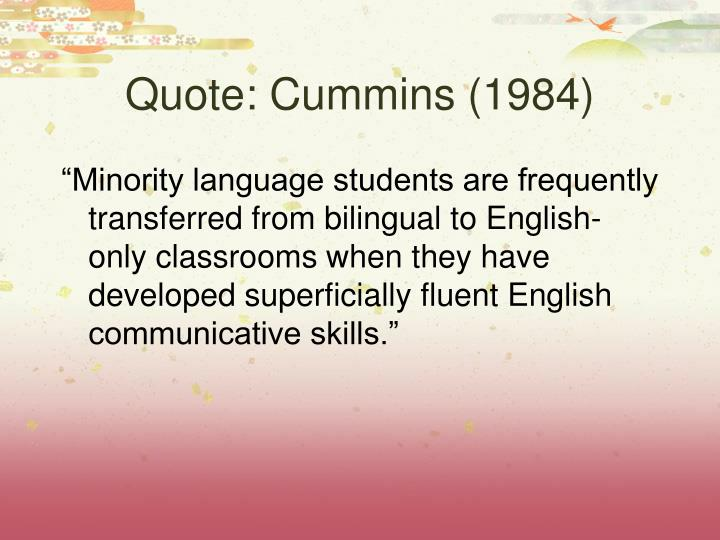 Quote: Cummins (1984)
