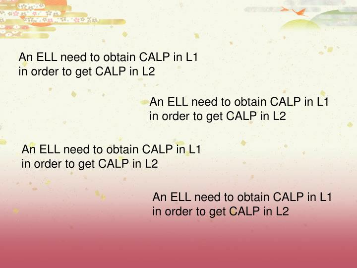 An ELL need to obtain CALP in L1