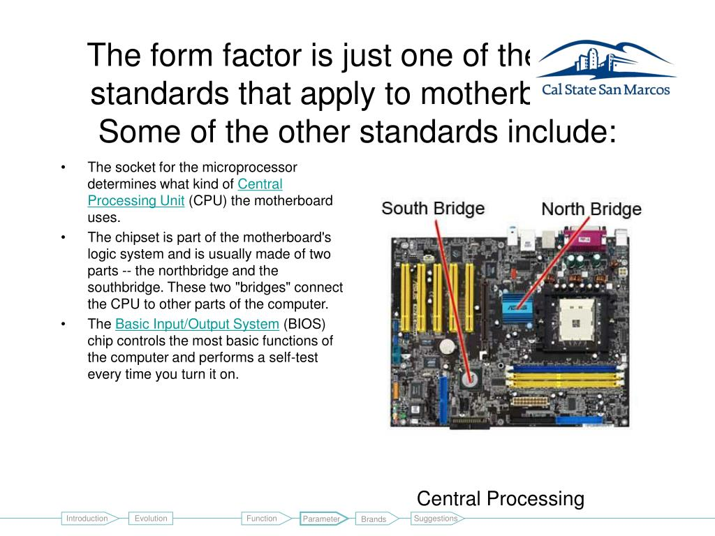 The form factor is just one of the many standards that apply to motherboards. Some of the other standards include: