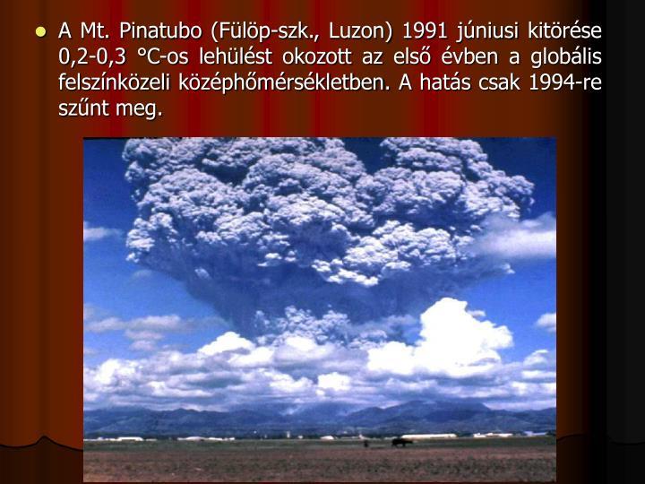A Mt. Pinatubo (Flp-szk., Luzon) 1991 jniusi kitrse 0,2-0,3 C-os lehlst okozott az els vben a globlis felsznkzeli kzphmrskletben. A hats csak 1994-re sznt meg.