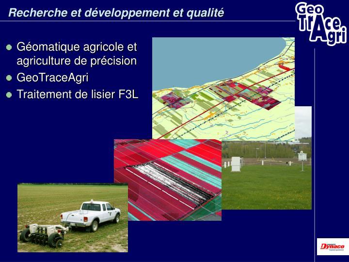 Recherche et développement et qualité