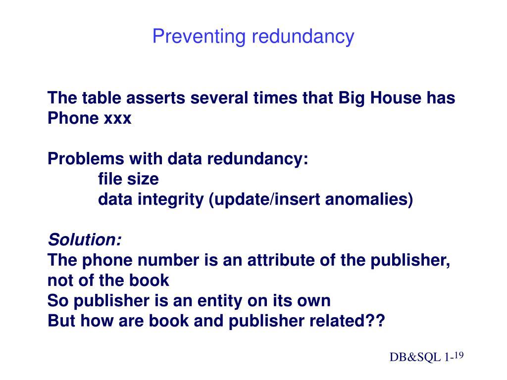 Preventing redundancy