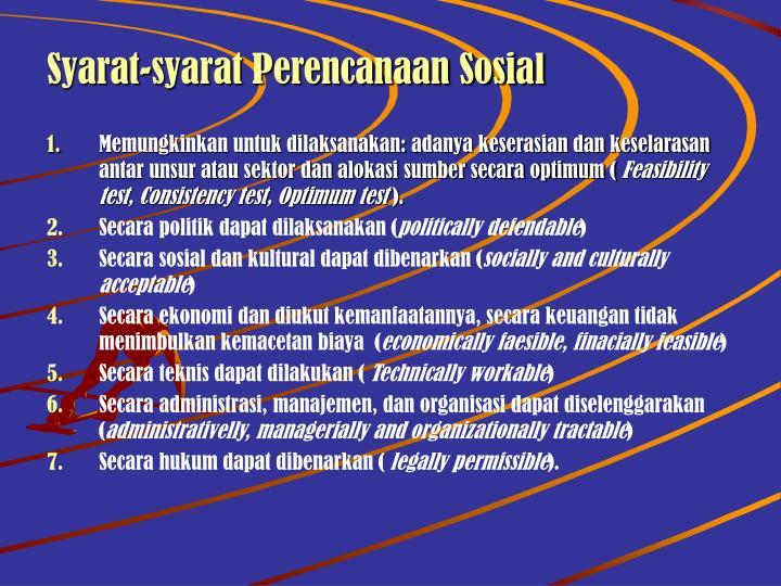 Syarat-syarat Perencanaan Sosial