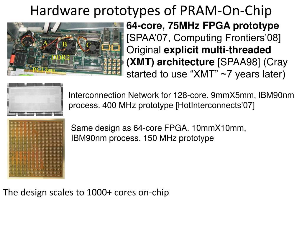 Hardware prototypes of PRAM-On-Chip