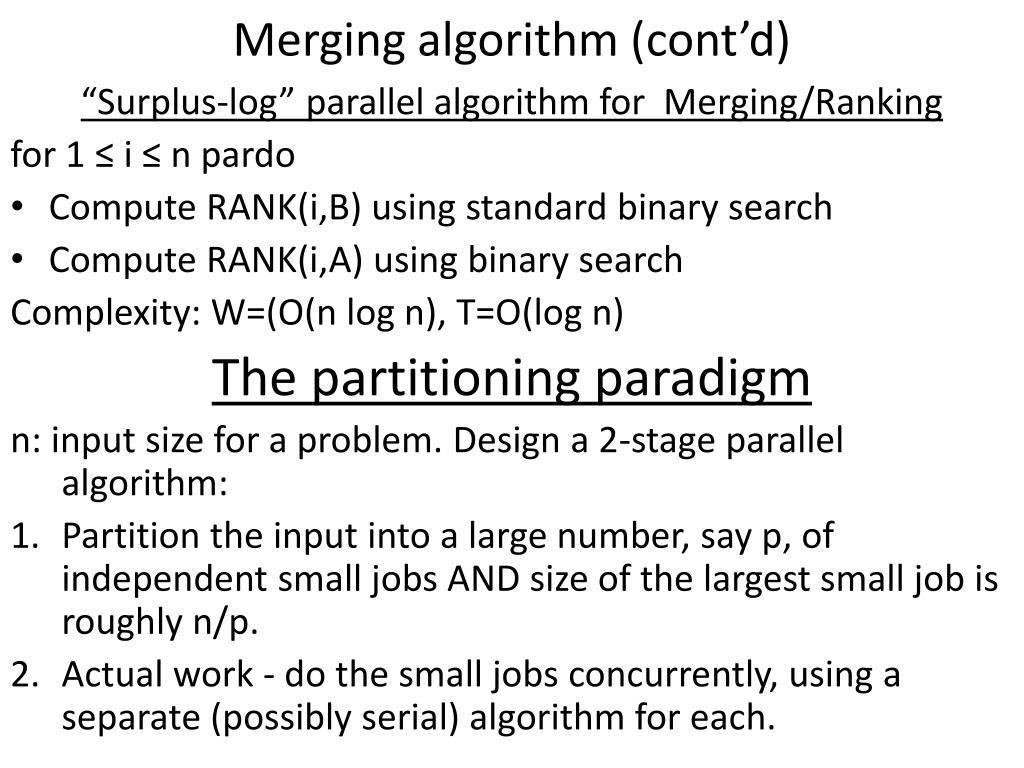 Merging algorithm (cont'd)