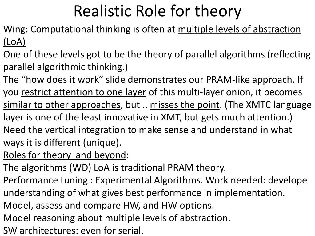 Realistic Role for theory