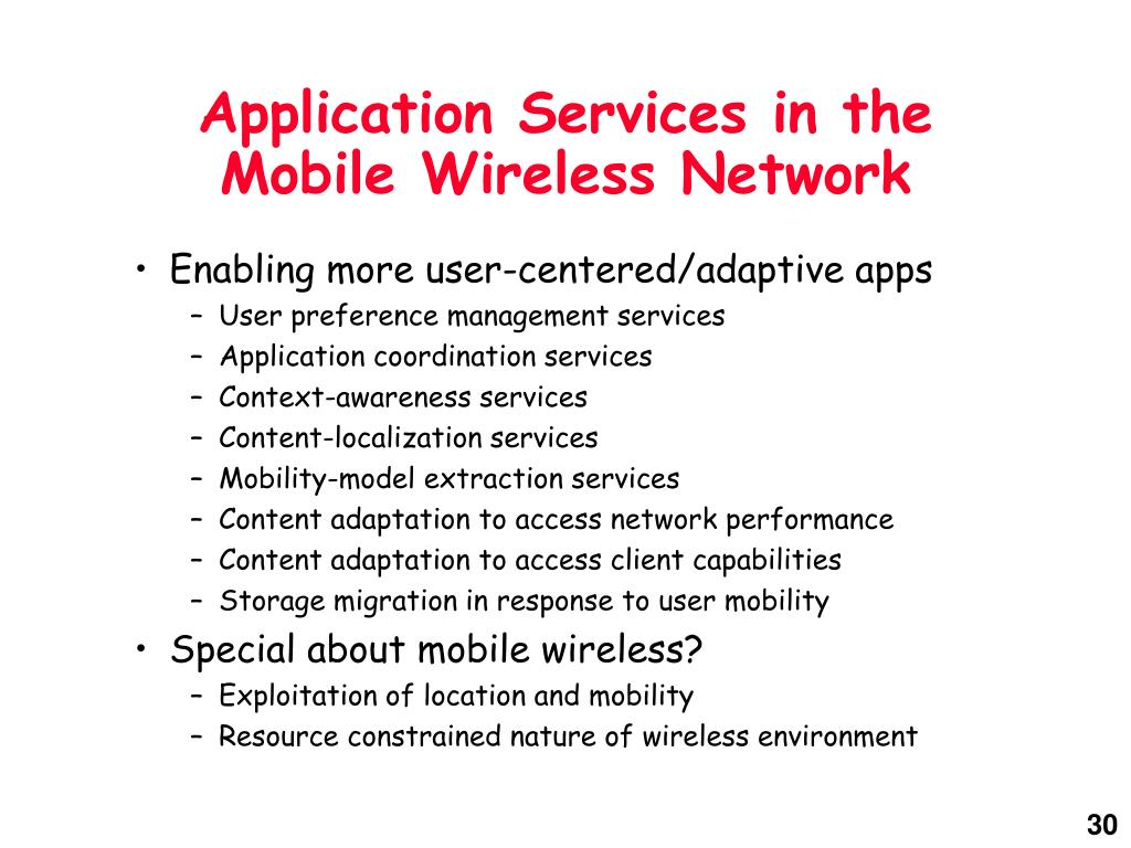 Application Services in the Mobile Wireless Network