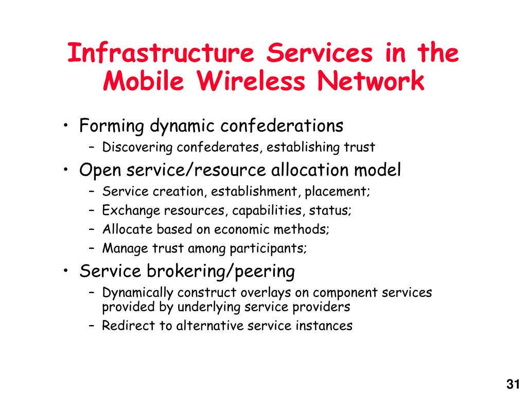 Infrastructure Services in the Mobile Wireless Network