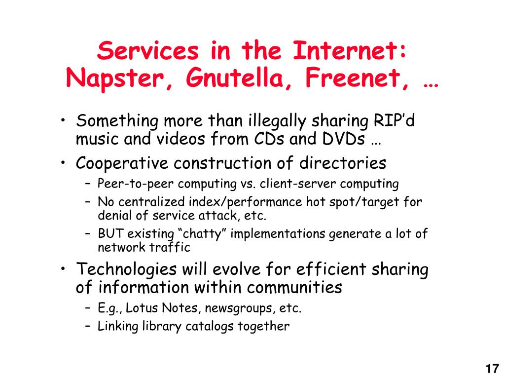 Services in the Internet: