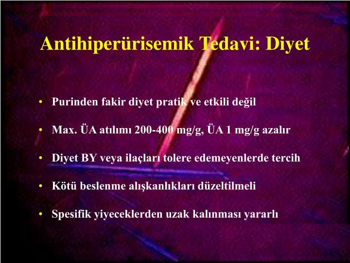 Antihiperürisemik Tedavi: Diyet