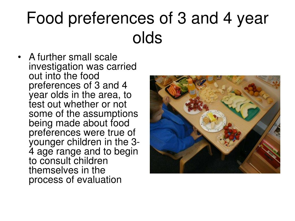 Food preferences of 3 and 4 year olds