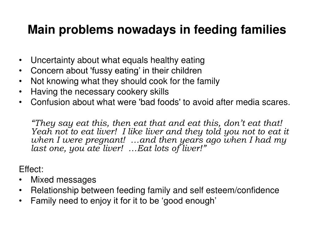 Main problems nowadays in feeding families