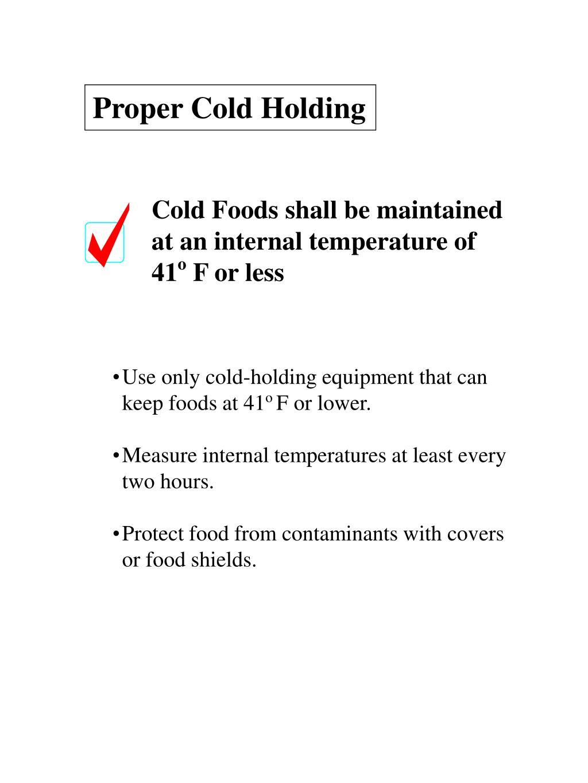 Proper Cold Holding