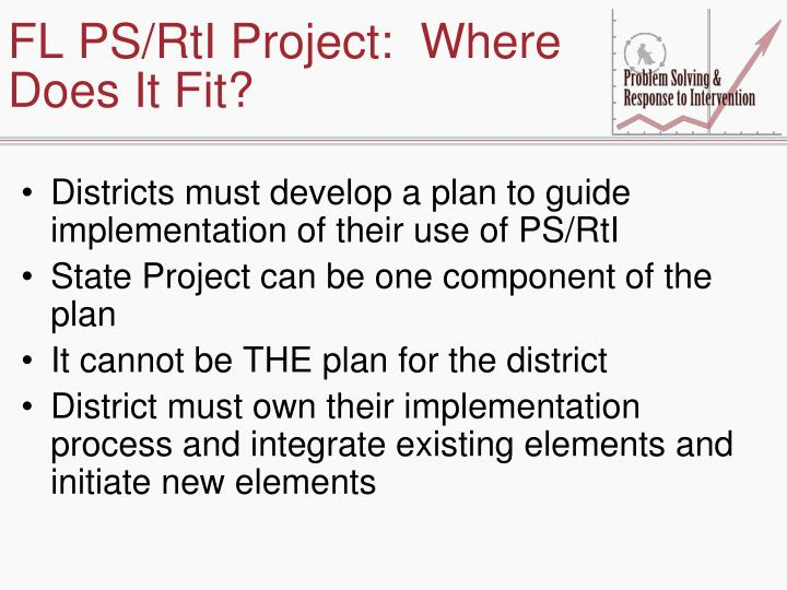 FL PS/RtI Project:  Where Does It Fit?
