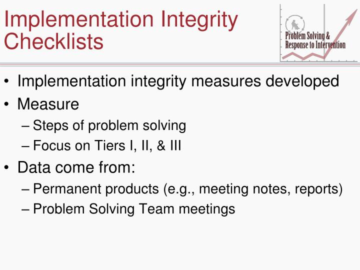 Implementation Integrity Checklists