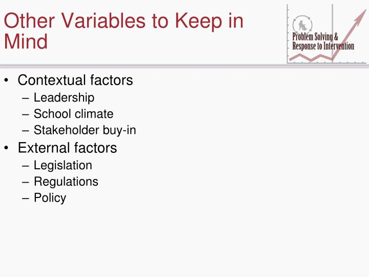 Other Variables to Keep in Mind