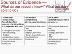 sources of evidence what do our readers know what are they able to do