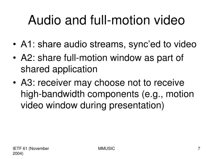 Audio and full-motion video