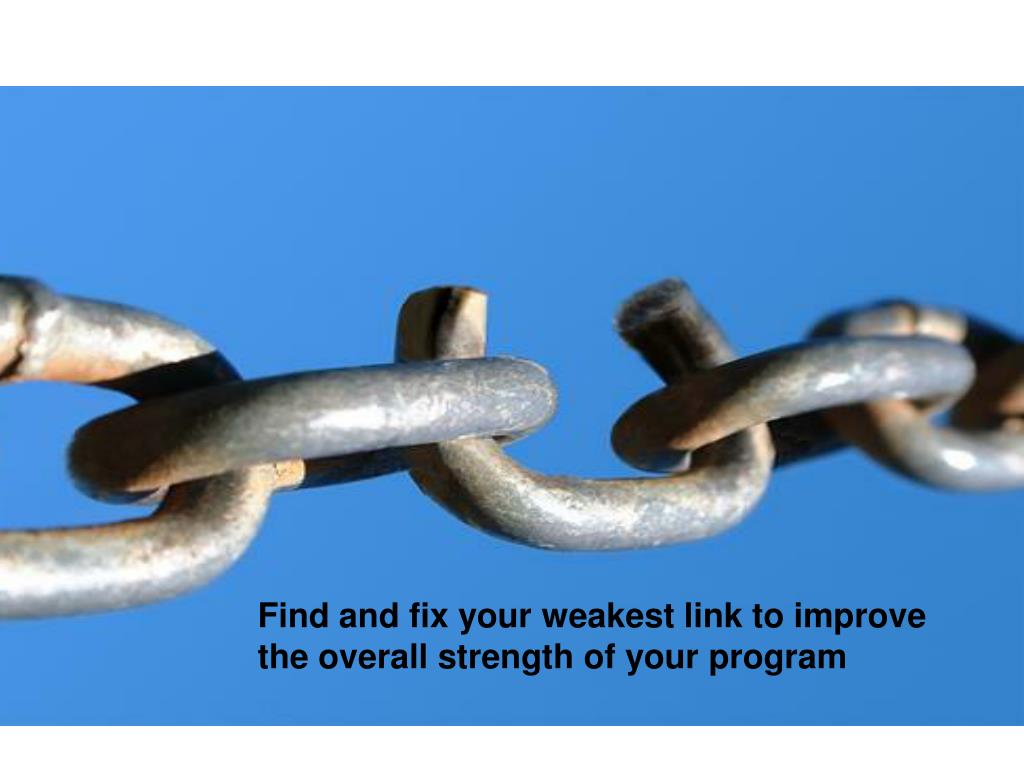 Find and fix your weakest link to improve the overall strength of your program