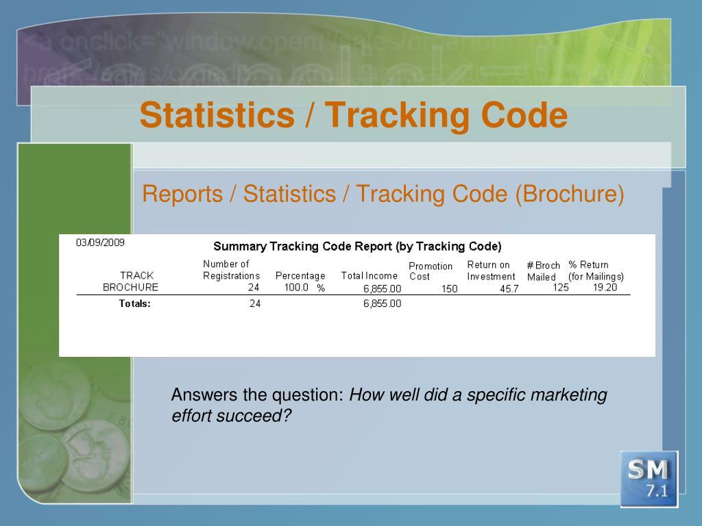 Statistics / Tracking Code