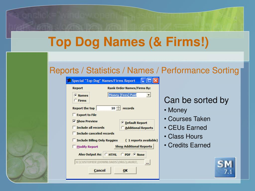 Top Dog Names (& Firms!)