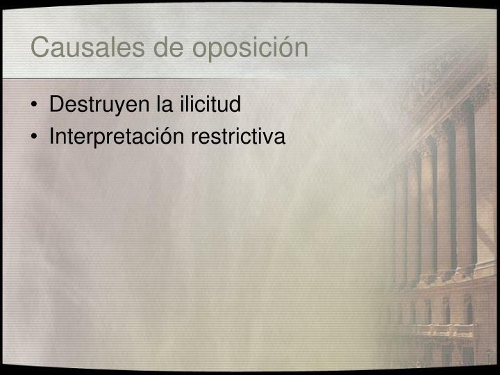 Causales de oposición
