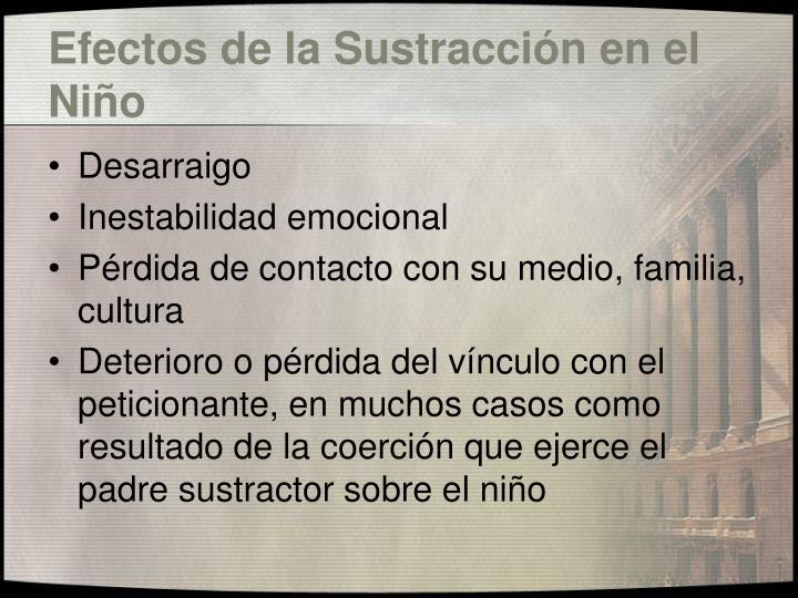 Efectos de la Sustracción en el Niño