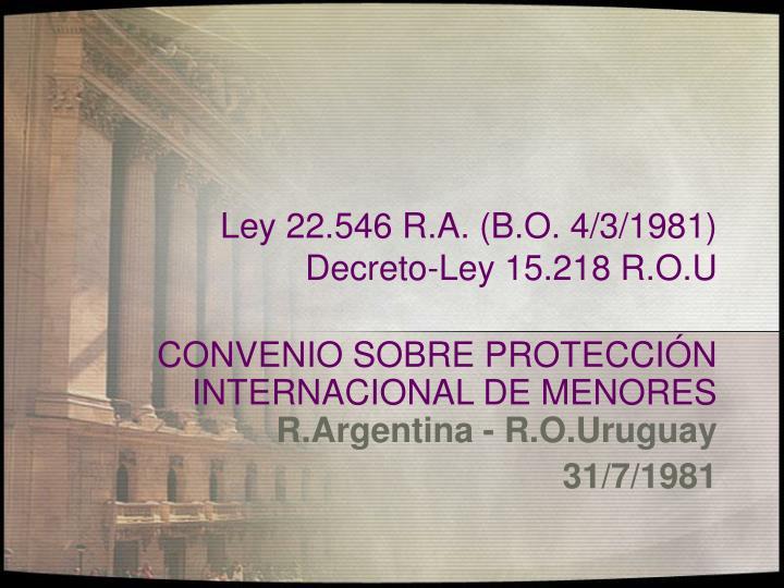 Ley 22.546 R.A. (B.O. 4/3/1981)