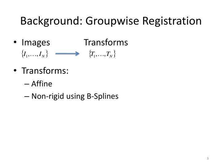 Background groupwise registration
