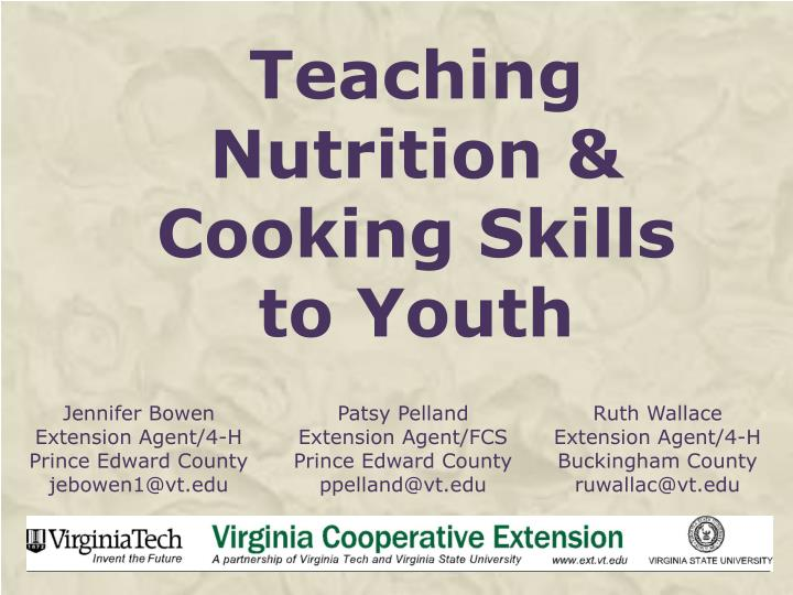 Teaching nutrition cooking skills to youth