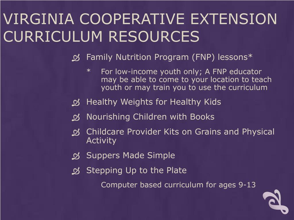 Virginia Cooperative Extension Curriculum Resources