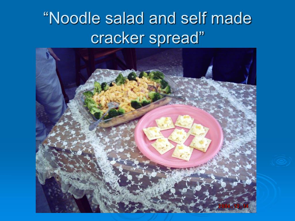 """Noodle salad and self made cracker spread"""