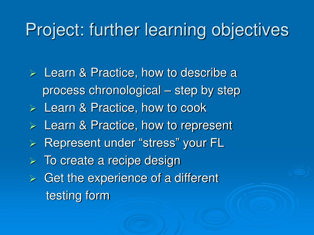 Project: further learning objectives