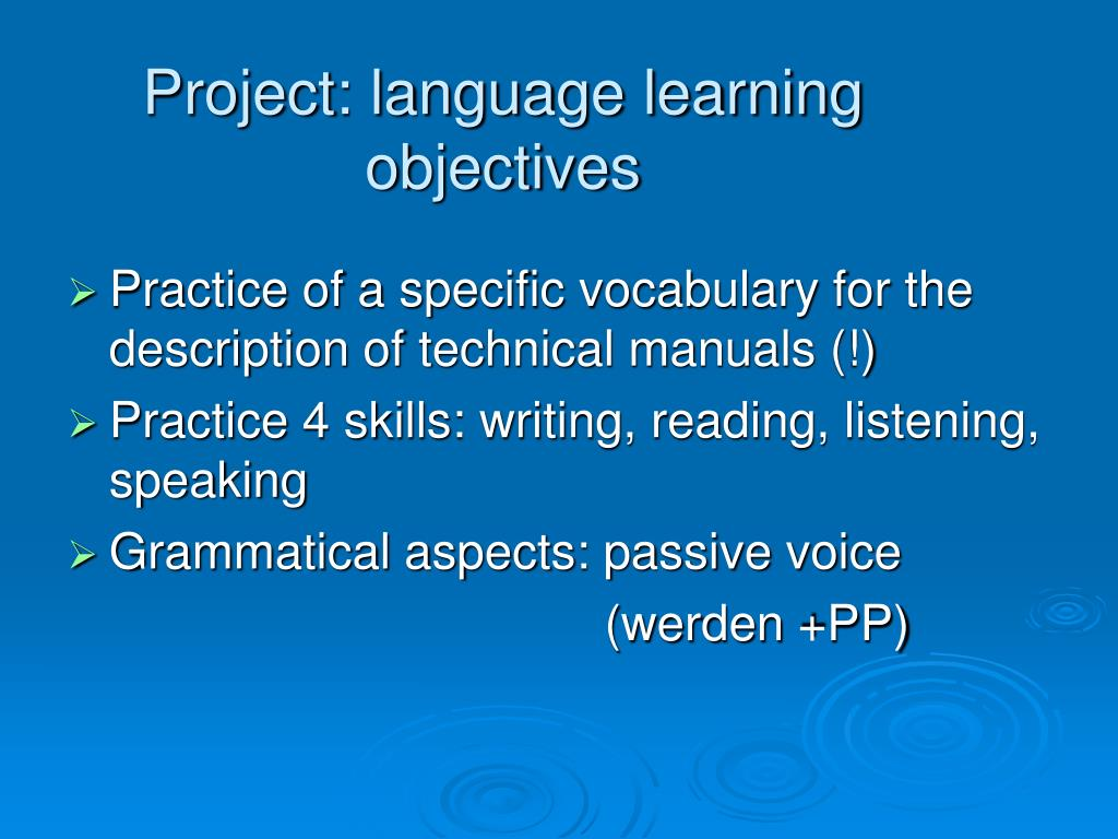 Project: language learning objectives