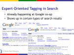 expert oriented tagging in search