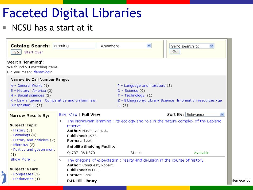 Faceted Digital Libraries